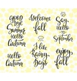 Hello Fall Autumn Rainy Days set vector image vector image