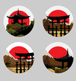 Icons with a Japanese landscape vector image vector image