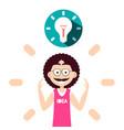 idea symbol bulb above smart man vector image