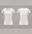 isolated front and back woman t-shirt fashion vector image