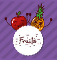 kawaii apple pineapple cartoon fruits label vector image vector image