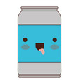 kawaii beer can in colorful silhouette vector image