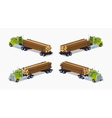 Low poly log truck with the pile of logs vector image vector image