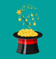 magic hat wand and gold coins vector image