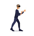 man wearing virtual reality headset walking and vector image