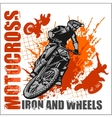 Motocross sport - grunge poster vector image vector image