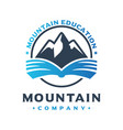 mountain climbing education logo design vector image vector image