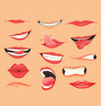 mouth expressions lips with a variety emotions vector image vector image