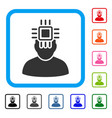 neuro interface framed icon vector image vector image