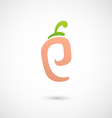 Peach Icon - alphabet shape P vector image vector image