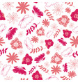 pink tossed floral and leaves mix seamless pattern vector image