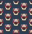pug in christmas glasses seamless pattern vector image vector image