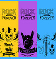 rock music forever collection colorful posters vector image vector image