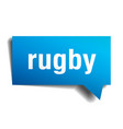 rugby blue 3d speech bubble vector image vector image