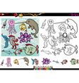 sea life cartoon coloring page set vector image