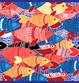 seamless pattern colorful fish vector image vector image