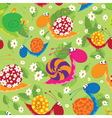 seamless snails with flowers and leaves vector image vector image