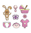 set baby shower girl tools elements vector image