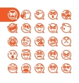 Set of emoji speech bubble emoticons vector image vector image