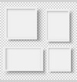 set of realistic empty white picture frames vector image