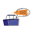 shopping basket with speech bubble vector image vector image
