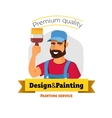 Smiling painter is holding brush Painting service vector image vector image