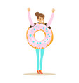 smiling woman wearing donut costume fast food vector image vector image