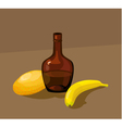 still life with yellow melon bottle and banana vector image vector image