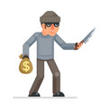 threat of violence evil greedily thief stole money vector image