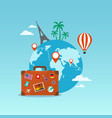 travel suitcase with globe and icons vector image vector image