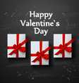 Valentines card White gift box with red ribbon bow vector image vector image