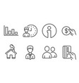 working hours histogram and payment icons vector image