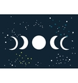 Lunar eclipse Moon phases circle with stars space vector image