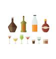 set design alcohol bottles and glasses vector image