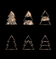 a set rose gold glitter christmas trees vector image vector image