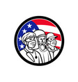 american essential workers wearing mask usa flag vector image vector image