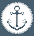 anchor in a frame with a chain marine concept logo vector image vector image
