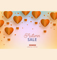 autumn sale template papercut air balloon vector image