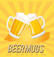 beer mugs two mugs of beer image vector image vector image