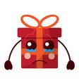 cartoon christmas gift crying expressio vector image
