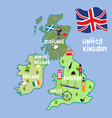 cartoon united kingdom map national symbols vector image vector image