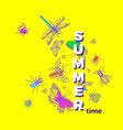 colorful insects nature template for summer card vector image