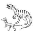 dinosaurs tyrannosaurus rex velociraptor vector image vector image