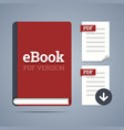 Electronic book template with documents icons vector image