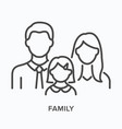 family with little girl flat line icon vector image