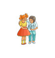 flat female doctor and girl kid scene vector image vector image