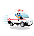 friendly ambulance driver wearing mask and gloves vector image vector image
