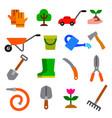 garden tools icon set vector image vector image