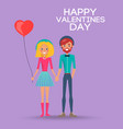 girl with balloon and boy on happy valentines day vector image