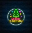 glowing neon christmas sign with christmas tree vector image vector image